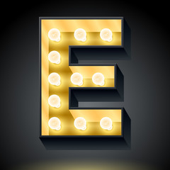 Realistic dark lamp alphabet for light board. Letter e