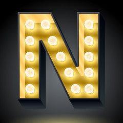 Realistic dark lamp alphabet for light board. Letter n