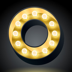 Realistic dark lamp alphabet for light board. Letter o