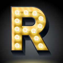 Realistic dark lamp alphabet for light board. Letter r