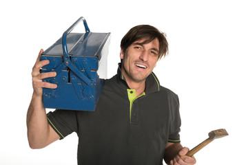 handwerker mit werkzeugkiste und hammer