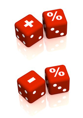 Red playing boxes with symbols plus, minus and percent