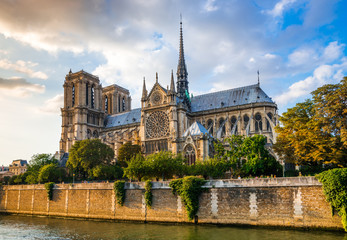 Gorgeous sunset over Notre Dame cathedral