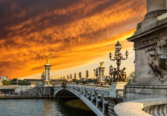 Fantastic  sunset over Alexandre III bridge (Pont Alexandre III)