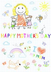 Happy children with mom