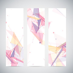 Vector vertical banners set with polygonal abstract shapes,