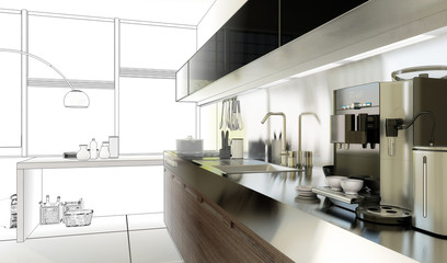 Küche in 3D (Entwurf)