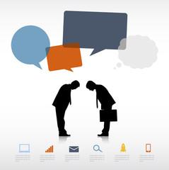 Silhouettes Businessmen Bowing Speech Bubbles Concept