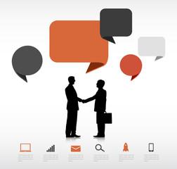 Businessmen Agreement Speech Bubbles Concept