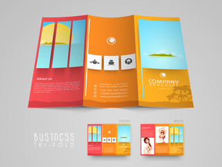 Tri-fold flyer, brochure or template for tour and travels.