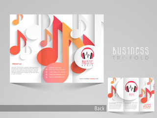 Tri-fold brochure, catalog and flyer template for music.