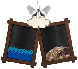 Seafood Menu with Two Blackboards