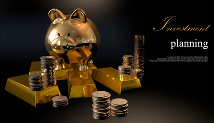 Gold piggy bank and stacked coins against a black background