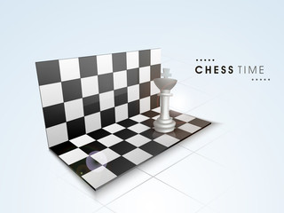 Glossy Chess board with king figure on blue background.