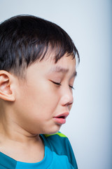 Closeup asian boy (thai) crying