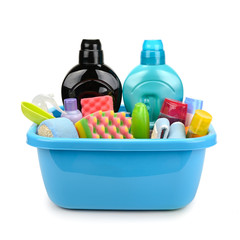 Hygiene products and detergents in basin