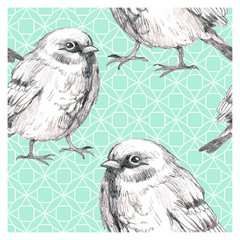 pencil sketch seamless pattern with  triangles and bird sparrow