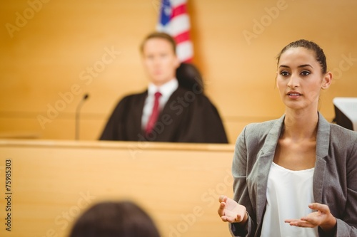 Serious lawyer make a closing statement - 75985303