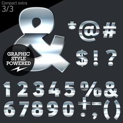 Silver chrome and aluminum vector alphabet set. Compact bold