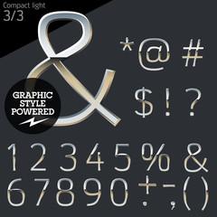 Silver chrome and aluminum vector alphabet set. Compact light