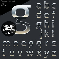 Silver chrome and aluminum vector alphabet set. Compact normal.