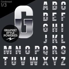 Silver chrome and aluminum vector alphabet set. Condensed.