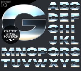 Silver chrome and aluminum vector alphabet set. Extended.