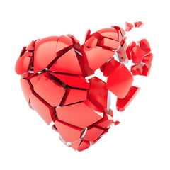 Isolated broken red heart