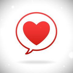 Red heart icon in speach bubble on nice abstract background with