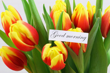 Good morning card with red and yellow tulips