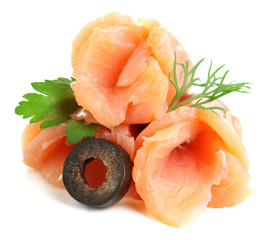 Sliced and rolled salmon, black olive and herbs isolated