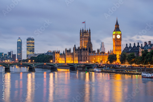 Foto op Plexiglas Londen Big Ben and Westminster Bridge at dusk, London, UK