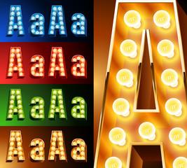Realistic lamp board alphabet. Multicolored.  Letter a