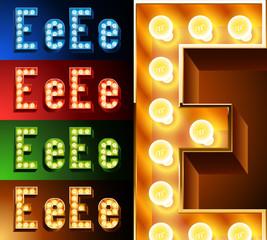 Realistic lamp board alphabet. Multicolored.  Letter e