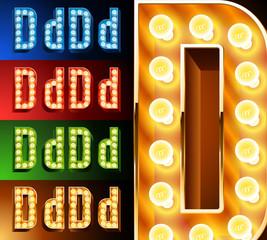 Realistic lamp board alphabet. Multicolored.  Letter d
