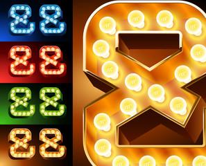 Realistic lamp board alphabet. Multicolored.  Symbols 3