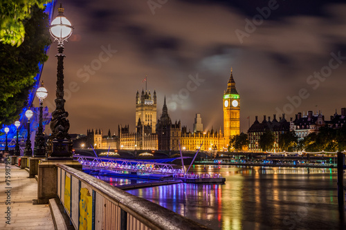 Fotobehang Londen Big Ben and Westminster Bridge at night, London, UK