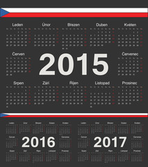 Vector black Czech circle calendars 2015, 2016, 2017
