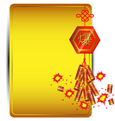 Firecracker on golden background Chinese new year