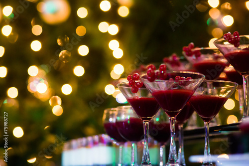 Line of different colored cocktails with smoke on a party - 75988727