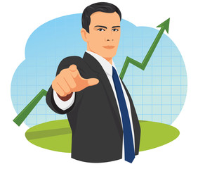 Businessman pointing finger towards camera on rising diagram