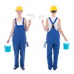 front and back view of young woman painter in blue coveralls iso