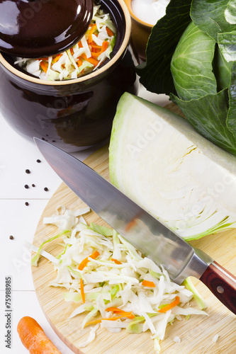 Fresh cabbage prepared for pickling - 75988985