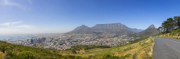Table Mountain, Lion's Head and Cape Town Harbour Panorama