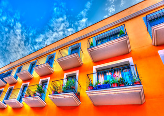 beautiful flat building at Figueres town in Spain. HDR processed