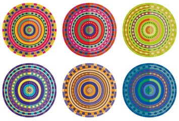 different colored circles mandala isolated
