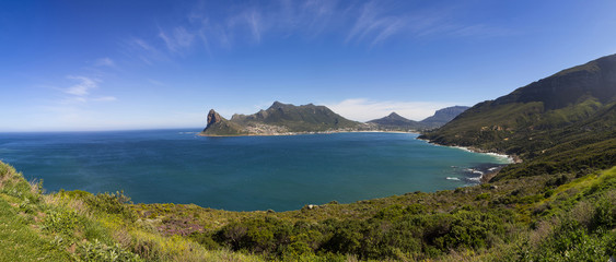 Hout Bay panorama with blue skies and a few clouds
