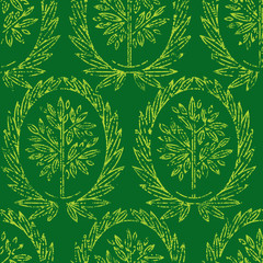 Vector seamless pattern with natural leafs