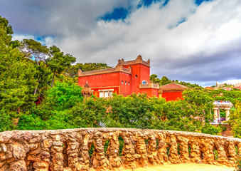 old building in the park Guell at Barcelona in Spain. HDR