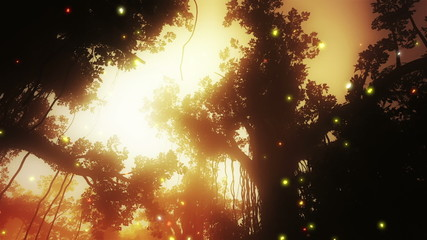 Mysterious Fairy Tale Fantasy Deep Jungle with Fireflies